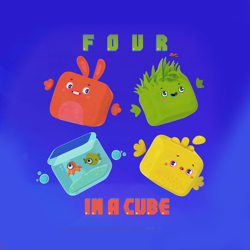 'Four in a cube' cartoon poster